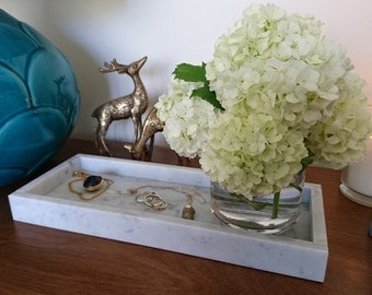 Marble tray - Carrara - Small - With sides - 30.5cm x 12cm x 3cm
