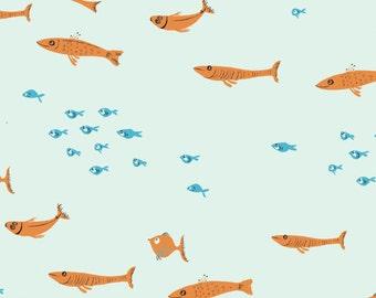Heather Ross Mendocino Light Blue Swim Class Fabric - 1 yard