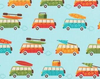 Robert Kaufman Beachy Keen Collection Aqua Traveling Fabric - 1 yard