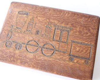 Vintage Wooden Inlaid Box with Train/Locomotive Design