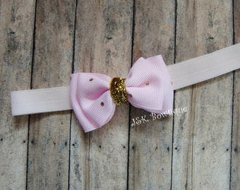 Double layer mini bow on headband...Pink...Gold...newborn...baby girl...photo prop