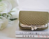 Stitch in Olive - Tiny Kiss lock Coin Purse/Jewelry holder