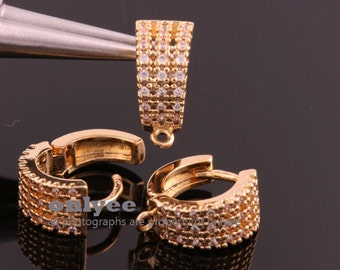 5pair/10pcs-15mmX7mmBright Gold three Line Cubic One-Touch Round Earring Findings, Brass Earrings Connectors(K863G)