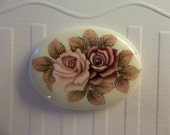 Vintage Japanese Decal Picture Stones - Pink & Mauve Two Rose Cameo -  40 X 30mm Glass Cabochons - Qty 2