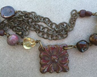 Ceramic Square Flower Pendant with Wire Wrapped Ceramic beads, Garnet, Czech Glass and Wood to Bronze Chain