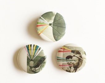 Set of Three 25mm Button Badges - Alien Activity