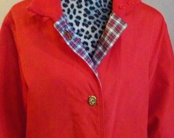 Vintage Bonnie Cashin Reversible Red & Plaid Coat Sz 14