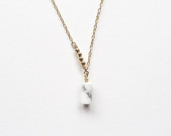 Howlite Asymmetrical Gold Filled Necklace | You're a Gem Collection