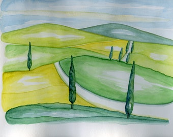 Tuscany Watercolor landscape whit cypress Original Watercolor by nerina52 Art Wall Decor paintings watercolor Green Tuscany Modern art