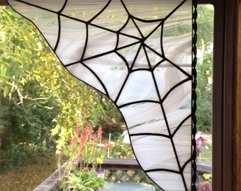 Custom Spiderweb White and Clear Wispy Stained Glass Spider Web Corner