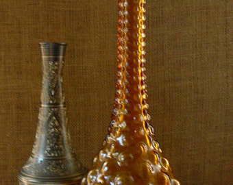 Mid Century VINTAGE AMBER GLASS Bubble Bottle Decanter Amber Glass Drama Tall Hobnail Mid Century Glass Bottle Dresser Bottle Jewelry Catch