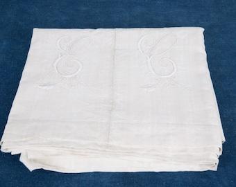 Antique French Linen Sheet. Summer Curtain. Monogrammed EC.