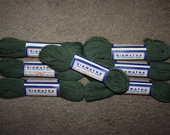 Vintage Hiawatha Wool Needlepoint Yarn: 7 Green 40 yd. Skeins NOS