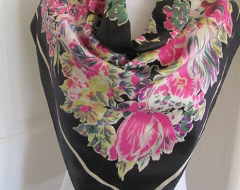 "Scarf SALE!!  Vannette // Beautiful Black Floral Retro Soft Acetate Scarf // 31"" Inch 79cm Square"