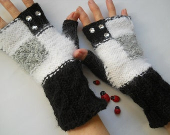 SALE 20% OFF Hand Knitted Gloves Women Accessories Fingerless Mittens Elegant Warm Wrist Warmers Striped Winter Cabled Romantic Gift Arm 785