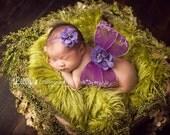 Purple Wing and Headband Set, Baby Girl Prop, Newborn Photo Prop, Photography Prop, Purple Wing Set, Baby Girl Headband