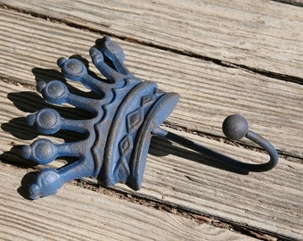 Cast Iron Blue Crown Hook, Nautical, Iron, Royal, Rustic, Prince, Home Decor, Hang