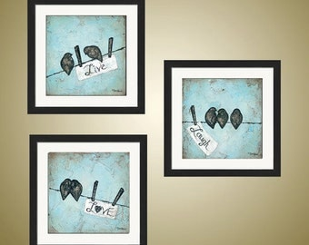 PRINT or GICLEE Reproduction -- Live Laugh Love Bird on a Wire SET, Love Birds, Blue Paintings, Set of Three