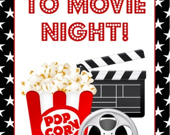 Movie night poster sign - Welcome to movie night, birthday party, movie night, drive in movie party, drive in theater, movie night