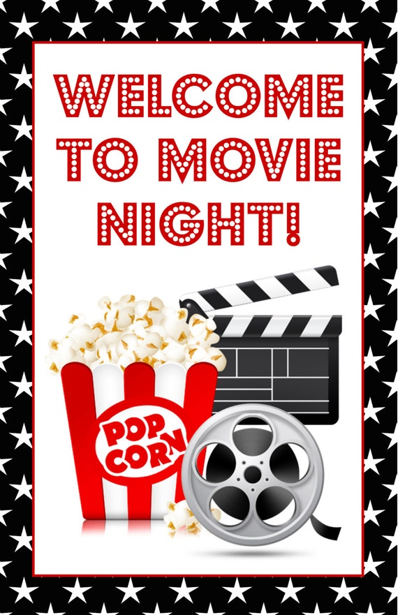 movie night poster sign welcome to movie night birthday