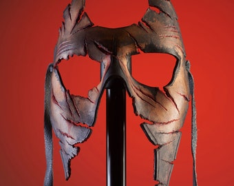 Handmade Genuine Leather Mask in Skin Tone for Masquerades Halloween or Cosplay Costume - Burned and Torn