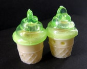 Two (2) Plastic Green Ice Cream Cone Buttons - 29mm x 19mm