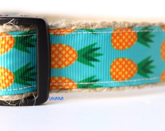 Pineapple Dog Collar, Adjustable Dog Collar, Hawaii Dog Collar, Summer Dog Collar, Dog Collar