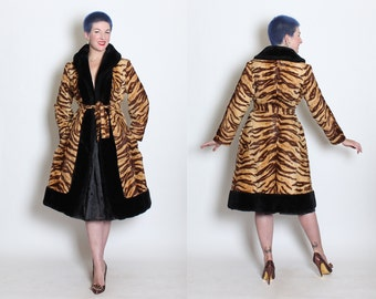 THE BEST 1950's Luxurious Plush Faux Fur Tiger Print Fit n Flare Hourglass Princess Coat w Tie Belt & Pockets by Youthcraft - Mint - M to XL