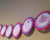 Princess Collection: Just Born/0-12 mos 12 Month First Birthday Photo Banner. Picture Banner. Pink and Purple Wand Castle Crown