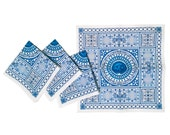 Cocktail Napkins - Cage in Blue/White (set of 6)