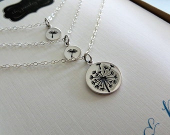 Mother daughter Dandelion necklace, sterling silver, gift for mom of two daughters, mother and sister