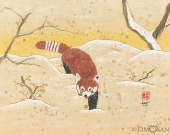 Red Panda in the Snow - sumi-e watercolor painting - 8x10 (Print)