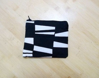 Abby #11 Black and White Coin Purse, Black and White, Coin Purse, Coin Purses, Zippered Wallet, Accessory Wallet, Make Up Bag, Pouch, Coins