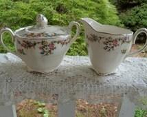 Grindley Marlborough Royal Petal Sugar Bowl and Creamer