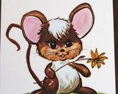 KAWAII  Mouse with Flower  Wooden Plack by   Illustrator Thayer Circa 1960s Mint