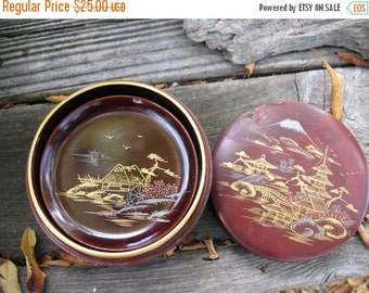 Beautiful MadMen  TIKI BAR Post War Japan Antique Hand Painted Lacquer Ware Coaster Set