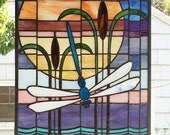 """Arts and Crafts Style Dragonfly Sunset- 16"""" x 22.5"""" Stained Glass Window Panel"""