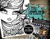 PRINTABLE Digi Stamp Windy Day Enchanted Halloween Coloring Page Fun Fantasy Art Hannah Lynn
