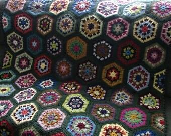 Handmade Crochet Deep Forest Green Edged Multi-Colored Kaleidoscope Afghan 48 x 68