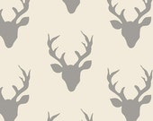 Cream and Grey Deer Head Antler Jersey Knit Fabric, Hello Bear by Bonnie Christine for Art Gallery Fabrics, 1 yard Jersey KNIT