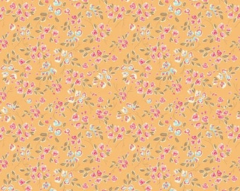 Mustard Pink and Blue Petite Floral Fabric, Chatsworth by Emily Taylor for Riley Blake Designs, Bloom Print in Yellow, 1 Yard