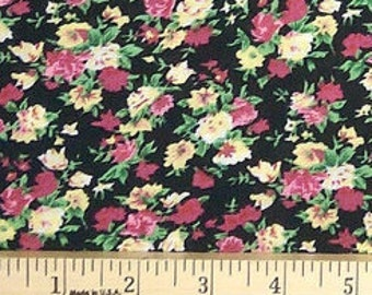 Rose Pink Yellow Green and Black Tiny Floral Rayon Challis, 1 yard