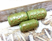 3 Tube Art beads in Green and Bronze, Textured Bead, Artisan Bead For Jewelry Making, Handmade Rustic Bead, Hollow Polymer Clay Bead