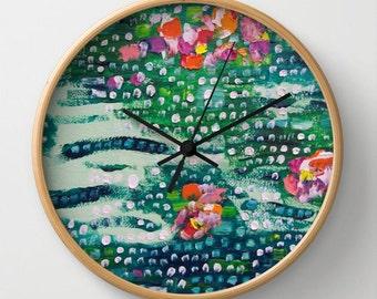 Abstract Wall Clock Art Clock Nature Modern Home Aqua Viridian Cyan Decor Abstract Art