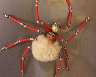 Beaded Fur Spider Magnet - Hand Made Ornament Decoration