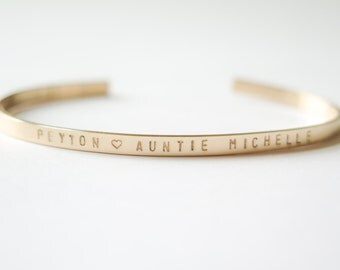 Bracelet Cuff Personalized in Rose Gold, 14kt Gold Fill or Sterling, Thin, Skinny, Dainty - Hand Stamped by Betsy Farmer Designs