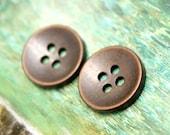 Metal Buttons - Antique Copper Hole Buttons , 2 Holes , 0.71 inch , 10 pcs