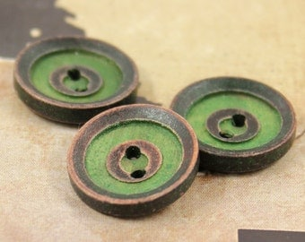 Wooden Buttons - 10 pieces of Retro Green Concentric Circles Wooden Buttons.  0.71 inch