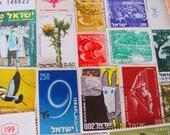 Shalom 50 Vintage Israeli Postage Stamps Holy Land Israel Jewish Orthodox Hebrew Hanukkah Yom Kippur Yiddish Oy Vey Tel-Aviv Bethlehem