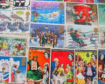 Season's Greetings 50 Vintage Christmas Postage Stamps Traditional Contemporary XMas Scrapbooking Happy Holidays Santa Worldwide Philately